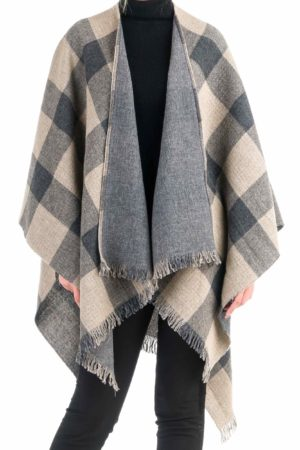 women-checkered-woolen-poncho-